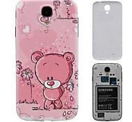 Caja rosada cubierta de la cubierta del oso dura de la PC de batería de respaldo para i9500 Samsung Galaxy S4