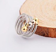 Fashion Color Gold Beads  Multiloop Cable Stainles Steel Rings