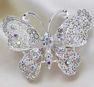Silver Plated Rhinestone Butterfly Brooch