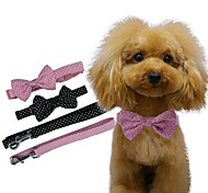 Adjustable Bowknot Is Dot Nylon Collar for Pets Dogs