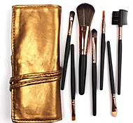 7Pcs Makeup Brushes Synthetic Hair with Gorgeous Golden Leather Bag
