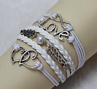 Vintage love 18cm Women's White Alloy/Leather Wrap Bracelet(White)(1 Pc)
