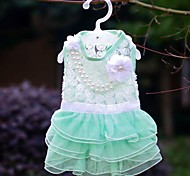 Dog Dress Green / Pink / Rose Summer Pearl Wedding