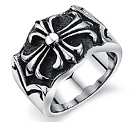Retro Pattern Personality Forward Cross Stainless Steel Men's Ring (1 Pcs)