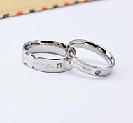 Fashion English Cross CZ Diamonds Inlaid Titanium Steel Couple Rings