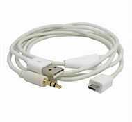 White USB Charger Power & Car AUX Out Cable for Galaxy s4 I9500 Note2 N7100 s5 i9600 & Note3 N9000
