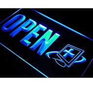 reparo do computador aberta insígnia especialista neon luz