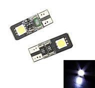 Merdia Festoon 24LM 0.5W T10 2x5050SMD LED White Light for Car Reading Lamp / Instrument Light / License Light- (12V/2 PCS)