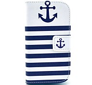 Striped Anchor Pattern PU Leather Case with Card Slot and Stand for Samsung Galaxy S3 mini I8190