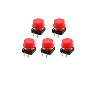 Jtron 12 x 12mm 4-Pin Touch Switch Button w/ Red Round Key Caps - Black + Red (5 PCS)