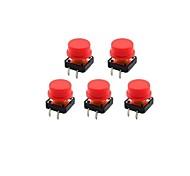 Jtron 12 x 12mm 4-pin touch Button Switch w / rosso rotondo tasto CAPS - Nero + Rosso (5 PCS)