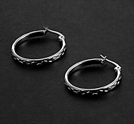 Fashion Snakeskin Pattern 2.0CM Round Shape Silver Stainless Steel Hoop Earrings (1 Pair)