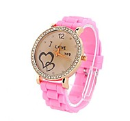 Coway Women's Round Diamond Golden Dial Pink Silicone Band Quartz Analog Wrist Watch