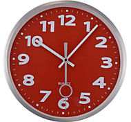 """12"""" Silver Metal Frame Glass Dial Red Background Wall Clock"""