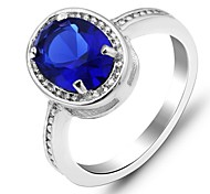 Vintage  Ring Blue Sapphire Silver Ring Classic CZ Lady Sapphire Ring for Women