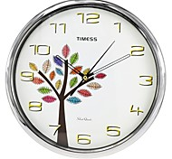 "Timess™ 12""H Colored Tree Super Mute Metallic Wall Clock"