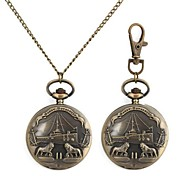 Two Lions Retro Ship Pattern Metallic Keychain Watch/Necklace Watch (1pc)