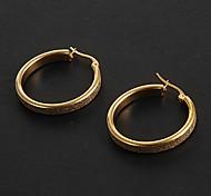 Fashion Simple Frosting 2.5 CM Oval Shape Golden Stainless Steel Hoop Earrings (1 Pair)