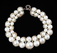 Frau Wave Shape Perle Muster Metallic-Halskette (1 St.)