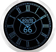 nc0702 Route US 66  Neon Sign LED Wall Clock