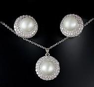 Favoloso platino placcato argento con la grande perla gioielli da sposa (tra cui orecchini, collana) (Altri colori)