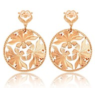 Fashion Gold Plated Leaf Shaped Pendent Pierced Alloy Women's Earrings