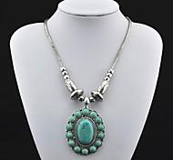 Toonykelly ® Vintage (Flower) Tibet d'antiquariato della lega del turchese della collana (verde) (1 Pc)