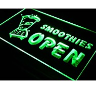 i264 OPEN SMOOTHIES Drink Smoothie Neon Light Sign