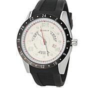 Dial Moda Calendario Rotary banda de silicona de cuarzo reloj de pulsera para hombre (varios colores)