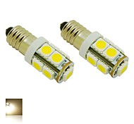 E10 2W 9X5050 SMD 3000K quente lâmpada luzes brancas LED Luz para DIY (DC 12V, 2 pacotes)