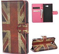 The Union Jack Pattern Case with Card Slot and Built-in Matte PC Cover for Sony Xperia M2