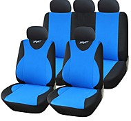 9 PCS Set Car Seat Covers Universal Fit Sport Design  Polyester with 3MM Composite Sponge  Black Net Car Accessories