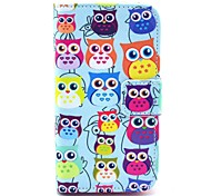 Colorful Owls Pattern PU Leather Case with Card Holder and Stand for Samsung Galaxy I8160