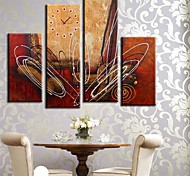 The Line of The Abstract Clock in Canvas 4pcs