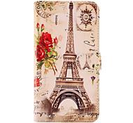 La Torre Eiffel e il Fiore Rosso modello in pelle PU con custodia morbida e slot per schede per la galassia S5 i9600 di Samsung