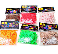 Rainbow Colorful Loom Noctilucence Multicolor Green Rubber Band(300 Pcs Bands+12 Pcs C Or S Clips)