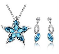 Flower Shpe Diamond   Silver Crystal (Necklaces&Earrings&)  Jewelry Sets(Navy)