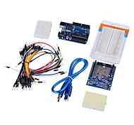 placa uno + protótipo escudo + placa de ensaio médio + placa de ensaio fios jumper cabo + USB para (para arduino)