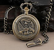 Men's Round Dial Military United States Army Style Quartz Analog Pocket Watch