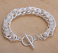 New Individual Women's Band Copper Silver Plated Chain & Link Bracelet(Silver)(1Pc)