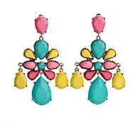 European Fashion Multi Colors Flower Drops Earrings (1Pair)