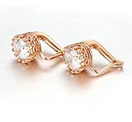 Classique 18K Blanc / Rose plaqué or 1,5 Carat suisses Cubic Les Boucles d'oreilles clip Zircon pierre percée