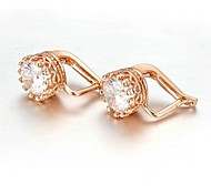 Clássico 18K Branco / Rose banhado a ouro 1,5 Carat suíços cúbicos Brincos clipe Zircon pedra perfurado