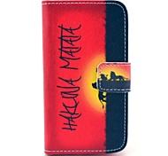 Hakuna Matata Pattern PU Leather Case with Card Holder for Samsung Galaxy I8160