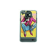 Overbearing Girl Leather Vein Pattern Hard Case for Samsung Galaxy S2 I9100