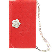 Grid Handbag Pattern White Camellia PU Leather Full Body Case with Chain for Samsung Galaxy S4 I9500