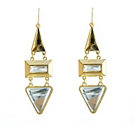 Fashion Glass Set Metal Drop Earrings
