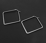 Fashion Simple 5.0CM Square Shape Silver Stainless Steel Hoop Earrings (1 Pair)