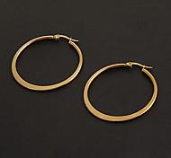 Fashion Simple 3.5CM Flat Shape Golden Stainless Steel Hoop Earrings (1 Pair)