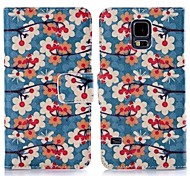 ENKAY Plum Blossom Pattern Protective Case with Holder and Card Slots for Samsung Galaxy S5 G900 / i9600